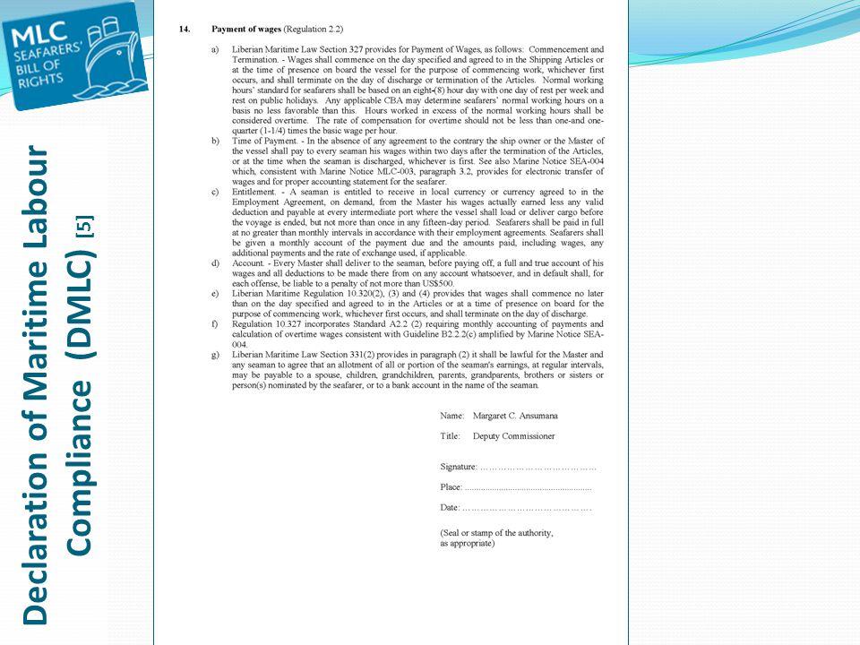 Declaration of Maritime Labour Compliance (DMLC) [5]